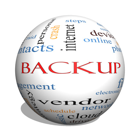 back up: Backup 3D sphere Word Cloud Concept with great terms such as files, cloud, data and more. Stock Photo