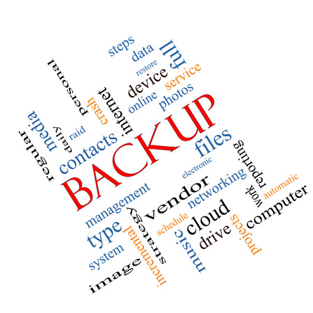 incremental: Backup Word Cloud Concept angled with great terms such as files, cloud, data and more.