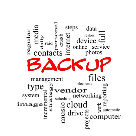 incremental: Backup Word Cloud Concept in red caps with great terms such as files, cloud, data and more. Stock Photo