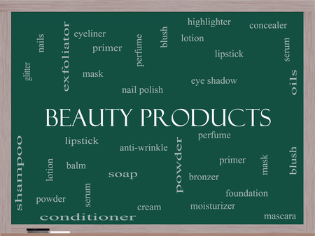 primer: Beauty Products Word Cloud Concept on a Blackboard with great terms such as lipstick, nail polish, oils and more.