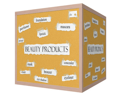 Beauty Products 3D cube Corkboard Word Concept with great terms such as mascara, eyeliner, mask and more.