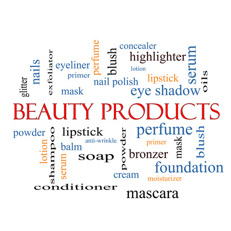 primer: Beauty Products Word Cloud Concept with great terms such as lipstick, nail polish, oils and more.