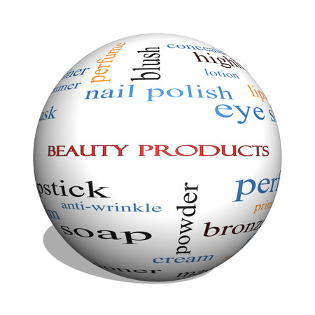 Beauty Products 3D sphere Word Cloud Concept with great terms such as lipstick, nail polish, oils and more. Banco de Imagens