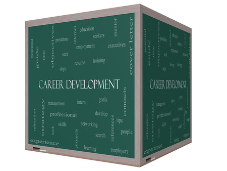Career Development Word Cloud Concept on a 3D cube Blackboard with great terms such as goals, resume, mentor and more.