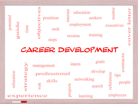 find: Career Development Word Cloud Concept on a Whiteboard with great terms such as goals, resume, mentor and more.
