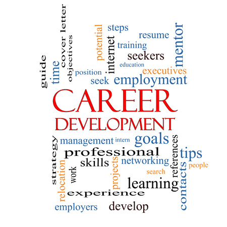Career Development Word Cloud Concept with great terms such as goals, resume, mentor and more. photo