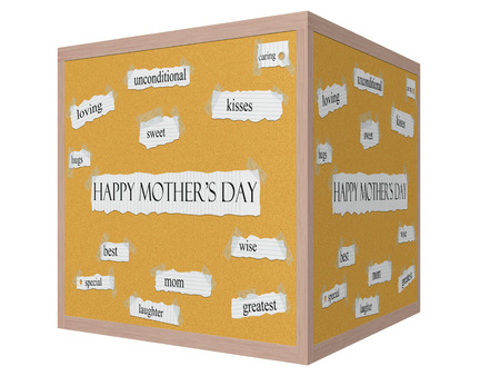Happy Mothers Day 3D cube Corkboard Word Concept with great terms such as loving, kisses, sweet and more.
