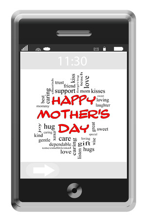hugs and kisses: Happy Mothers Day Word Cloud Concept of Touchscreen Phone with great terms such as loving, hugs, kisses and more. Stock Photo