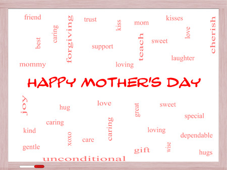 forgiving: Happy Mothers Day Word Cloud Concept on a Whiteboard with great terms such as kisses, love, hugs and more. Stock Photo