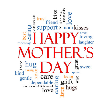 Happy Mothers Day Word Cloud Concept with great terms such as kisses, love, hugs and more. photo