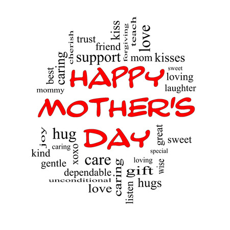 forgiving: Happy Mothers Day Word Cloud Concept in red caps with great terms such as kisses, love, hugs and more. Stock Photo