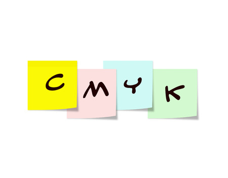 CMYK written on Sticky Notes for cyan, magenta, yellow and key colors. 版權商用圖片