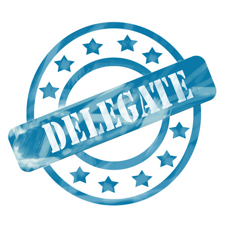 A blue ink weathered roughed up circles and stars stamp design with the word DELEGATE on it making a great concept.
