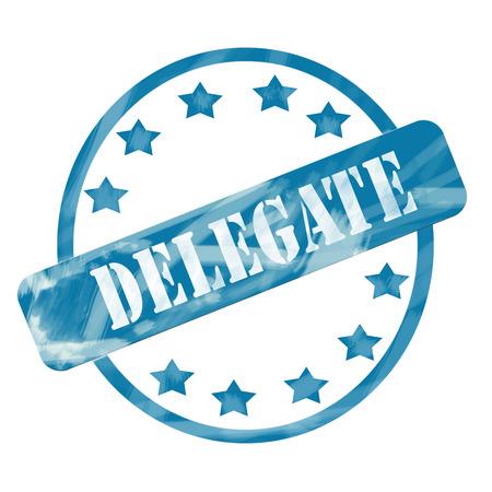 delegar: Una tinta azul degradado maltratado c�rculo y estrellas estampar el dise�o con la palabra DELEGADO en �l haciendo un gran concepto.