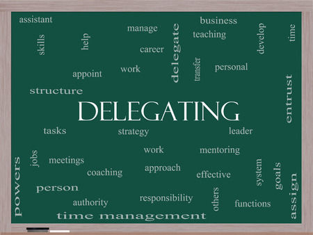 appoint: Delegating Word Cloud Concept on a Blackboard with great terms such as work, tasks, jobs and more. Stock Photo
