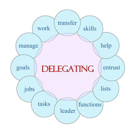 delegate: Delegating concept circular diagram in pink and blue with great terms such as jobs, tasks, help and more.