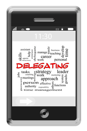 mangement: Delegating Word Cloud Concept of Touchscreen Phone with great terms such as jobs, work, tasks and more. Stock Photo