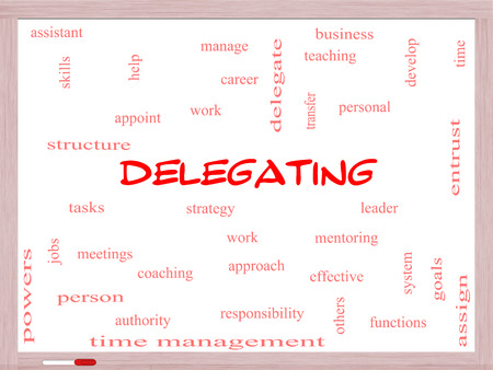 delegate: Delegating Word Cloud Concept on a Whiteboard with great terms such as work, tasks, jobs and more. Stock Photo