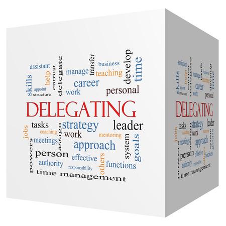 delegar: Delegar cubo 3D Palabra Nube Concepto con los t�rminos tales como trabajo, tareas, trabajos y m�s.