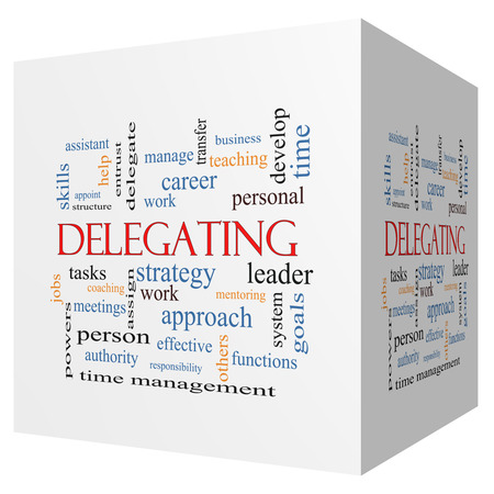 Delegating 3D cube Word Cloud Concept with great terms such as work, tasks, jobs and more. Stock Photo