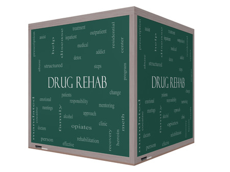 Drug Rehab Word Cloud Concept on a 3D cube Blackboard with great terms such as patients, addicts, help and more. photo