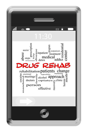 Drug Rehab Word Cloud Concept of Touchscreen Phone with great terms such as doctor, patient, addict and more. photo