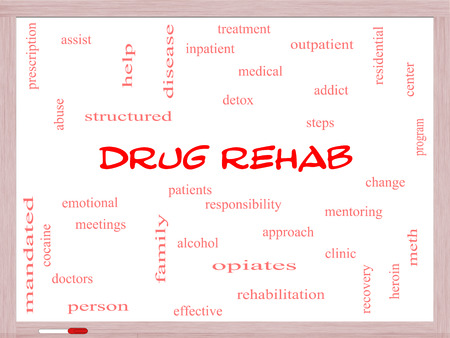mandated: Drug Rehab Word Cloud Concept on a Whiteboard with great terms such as patients, addicts, help and more.