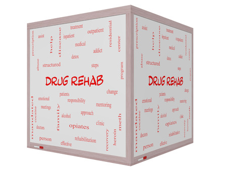 Drug Rehab Word Cloud Concept on a 3D cube Whiteboard with great terms such as patients, addicts, help and more. photo