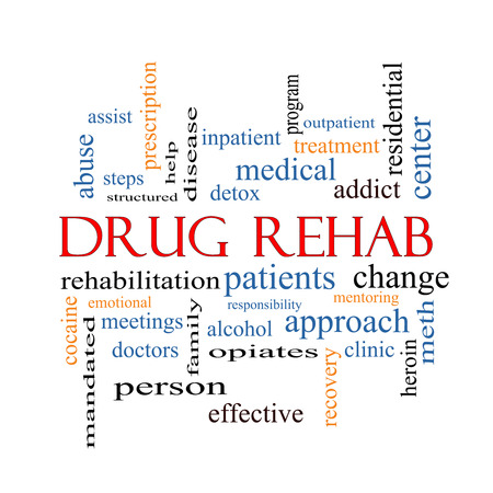 Drug Rehab Word Cloud Concept with great terms such as patients, addicts, help and more. photo