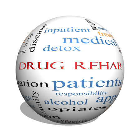 Drug Rehab 3D sphere Word Cloud Concept with great terms such as patients, addicts, help and more.