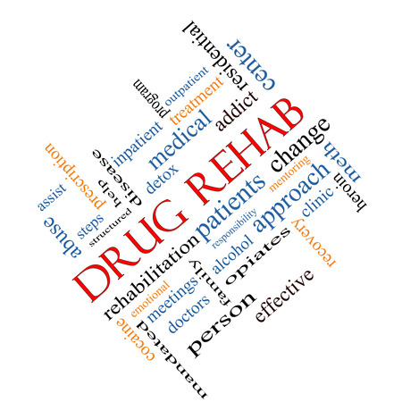 Drug Rehab Word Cloud Concept angled with great terms such as patients, addicts, help and more.