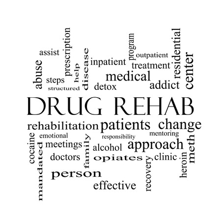 mandated: Drug Rehab Word Cloud Concept in black and white with great terms such as patients, addicts, help and more.