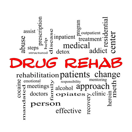 mandated: Drug Rehab Word Cloud Concept in red caps with great terms such as patients, addicts, help and more. Stock Photo