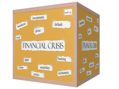 Financial Crisis 3D cube Corkboard Word Concept with great terms such as markets, world, global and more. photo