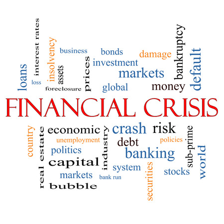 Financial Crisis Word Cloud Concept with great terms such as global, crash, risk and more. Banco de Imagens