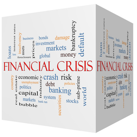 Financial Crisis 3D cube Word Cloud Concept with great terms such as global, crash, risk and more.
