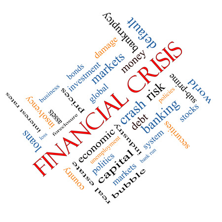 global crisis: Financial Crisis Word Cloud Concept angled with great terms such as global, crash, risk and more. Stock Photo