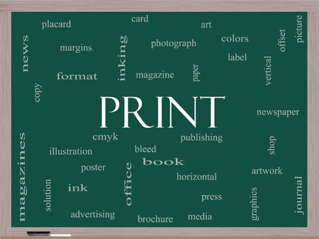 Print Word Cloud Concept on a Blackboard with great terms such as publishing, book, cmyk and more. photo