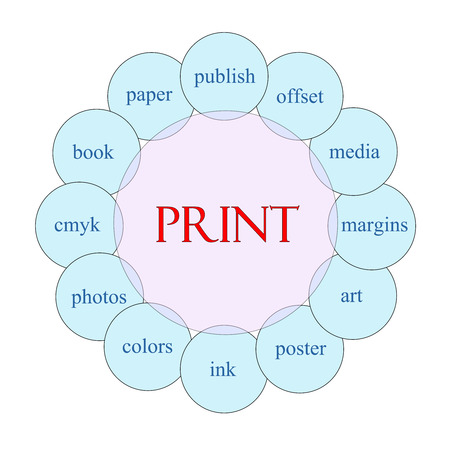 margins: Print concept circular diagram in pink and blue with great terms such as publish, offset, media and more. Stock Photo