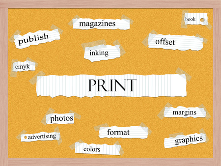 Print Corkboard Word Concept with great terms such as book, inking, cmyk and more. photo