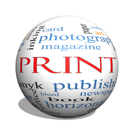 Print 3D sphere Word Cloud Concept with great terms such as publishing, book, cmyk and more. photo