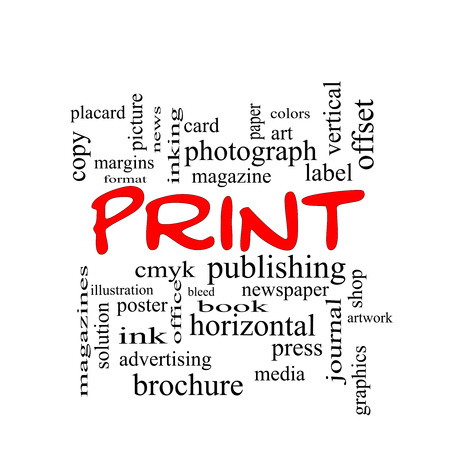Print Word Cloud Concept in red caps with great terms such as publishing, book, cmyk and more. photo