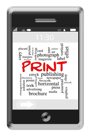 Print Word Cloud Concept of Touchscreen Phone with great terms such as cmyk, magazine, color and more. photo
