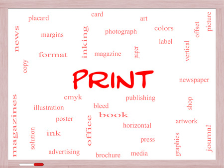 Print Word Cloud Concept on a Whiteboard with great terms such as publishing, book, cmyk and more. photo