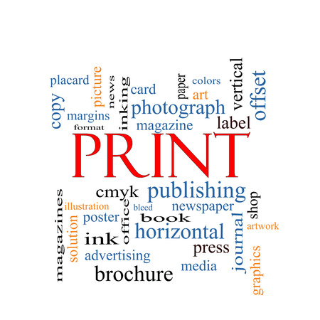 Print Word Cloud Concept with great terms such as publishing, book, cmyk and more. photo