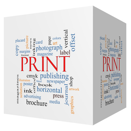 print media: Print 3D cube Word Cloud Concept with great terms such as publishing, book, cmyk and more. Stock Photo