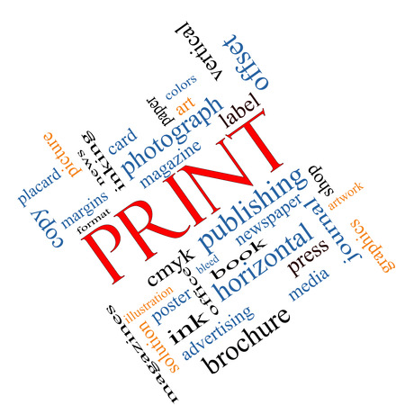 bleed: Print Word Cloud Concept angled with great terms such as publishing, book, cmyk and more. Stock Photo