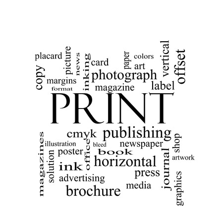 Print Word Cloud Concept in black and white with great terms such as publishing, book, cmyk and more. photo