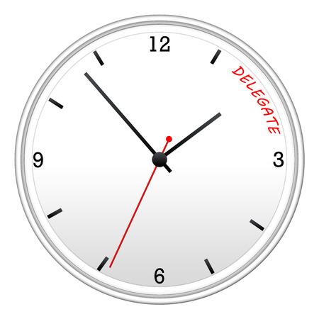 delegar: Tiempo para delegar en un reloj de pared blanca haciendo un gran concepto.