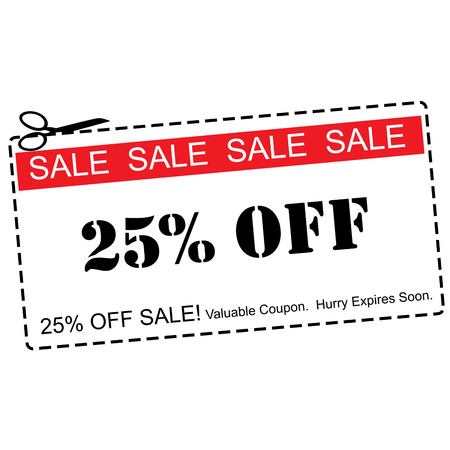 expires: A red, white and black Twenty Five Percent Off Sale Coupon making a great concept. Stock Photo